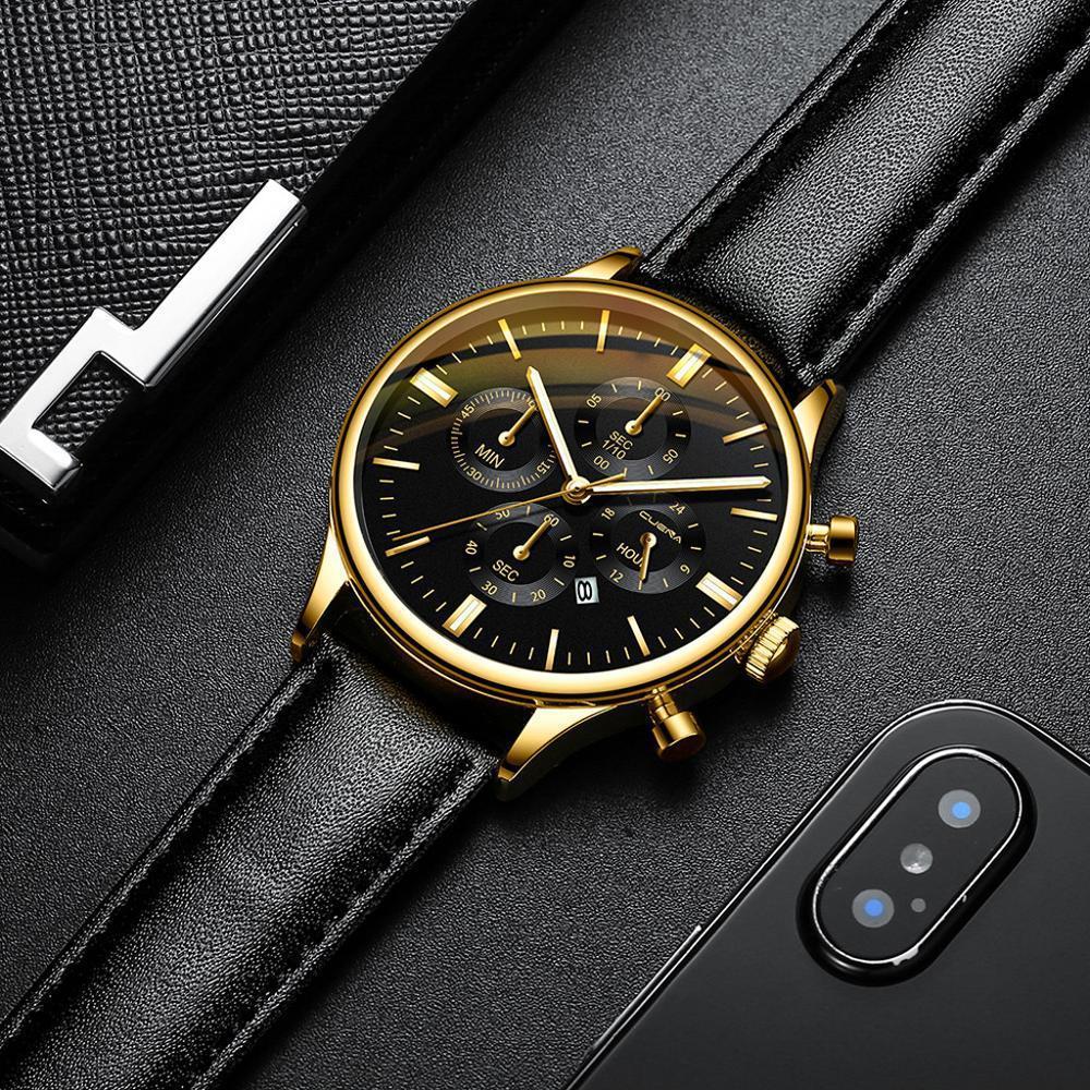 CUENA 男性腕時計ファッションの高級スポーツメンズステンレススチールケースレザーバンドクォーツアナログ腕時計レロジオ Masculino_画像3