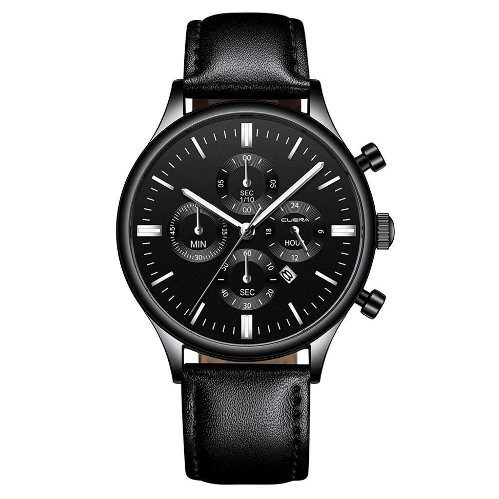 CUENA 男性腕時計ファッションの高級スポーツメンズステンレススチールケースレザーバンドクォーツアナログ腕時計レロジオ Masculino_画像4