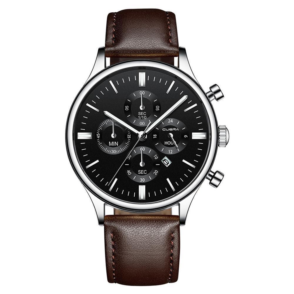 CUENA 男性腕時計ファッションの高級スポーツメンズステンレススチールケースレザーバンドクォーツアナログ腕時計レロジオ Masculino_画像5