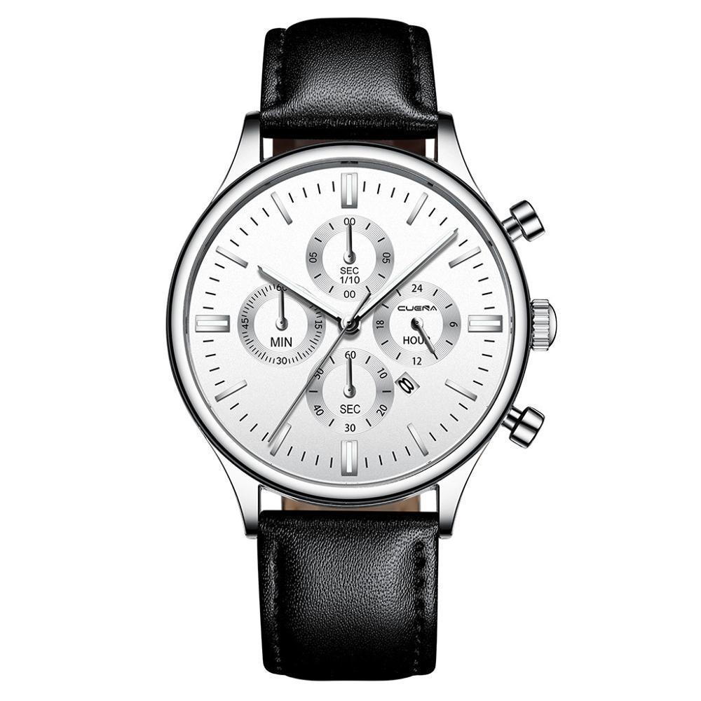 CUENA 男性腕時計ファッションの高級スポーツメンズステンレススチールケースレザーバンドクォーツアナログ腕時計レロジオ Masculino_画像6