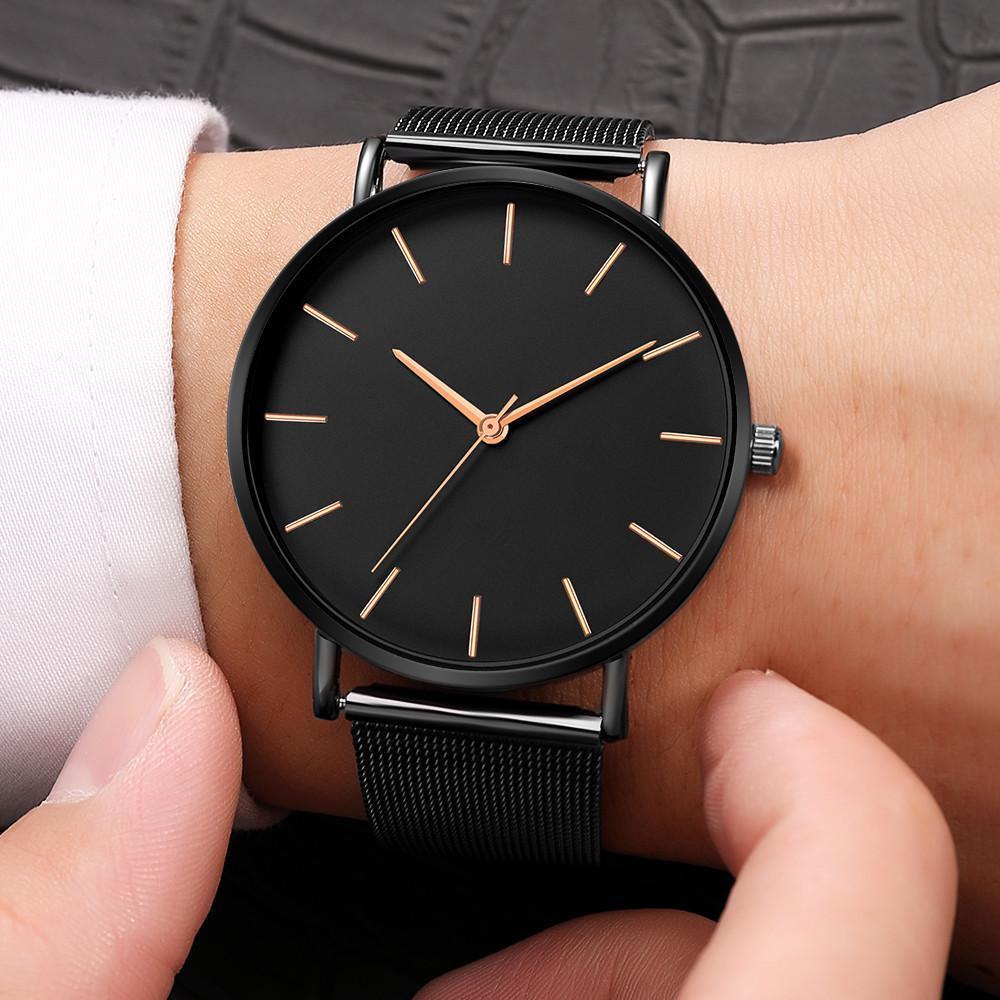 高級時計男性メッシュ超薄型ステンレス鋼クォーツ腕時計男性時計リロイ hombre レロジオ masculino_画像2