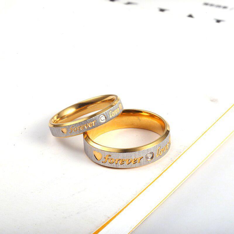 RIR カスタム名ゴールド永遠の愛結婚指輪カップル永遠婚約ハートとクリスタル男性女性リングステンレス鋼_画像3