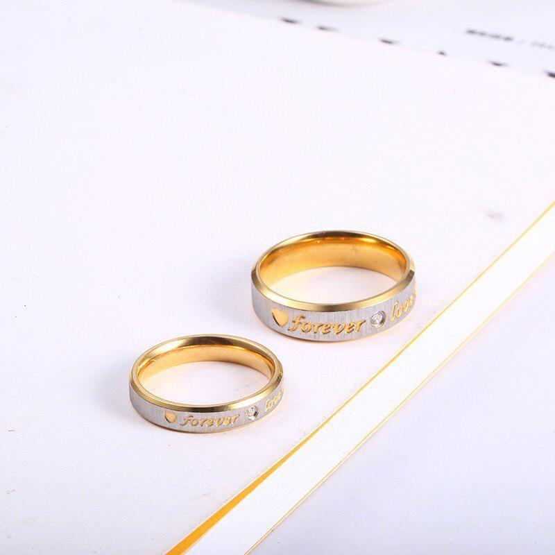 RIR カスタム名ゴールド永遠の愛結婚指輪カップル永遠婚約ハートとクリスタル男性女性リングステンレス鋼_画像4