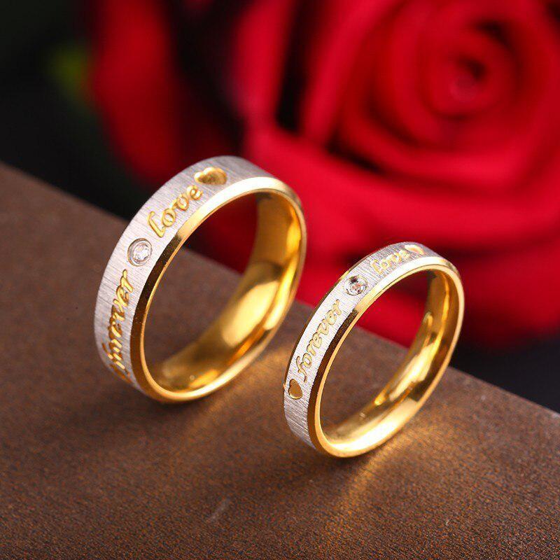 RIR カスタム名ゴールド永遠の愛結婚指輪カップル永遠婚約ハートとクリスタル男性女性リングステンレス鋼_画像5