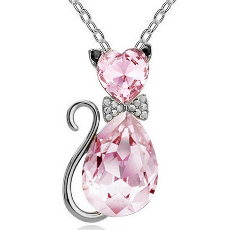 オーストリアのクリスタルかわいい猫ペンダントチェーンネックレス新デザインガールチャーム女性多数取り揃えの誕生日プレゼント_画像3