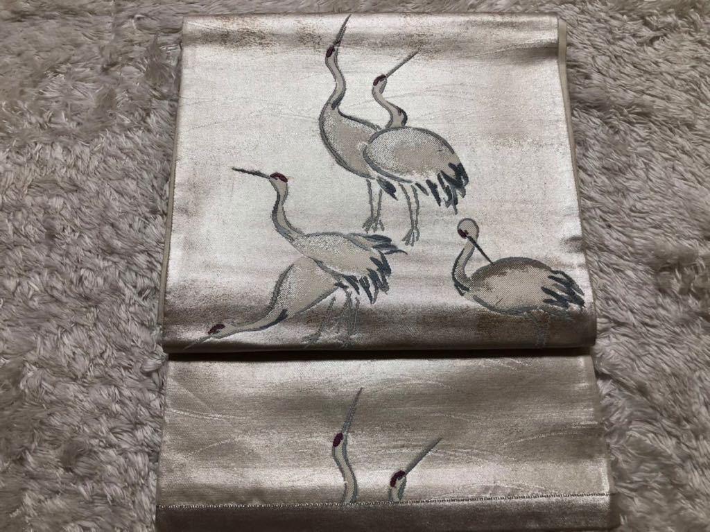 送料無料☆高級 は正絹名古屋帯 和装 着物帯♪リメイク ♪巾約 31cm長さ約 435.5cm_画像1