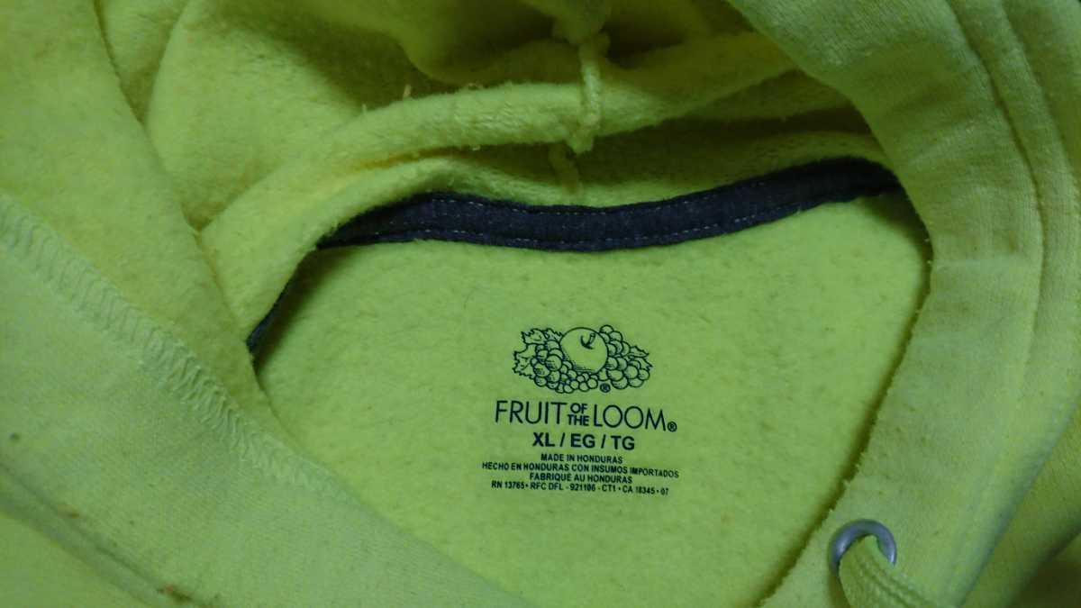 fruit of the loom パーカー USED ネオンイエロー XL フルーツオブザルーム 蛍光 ビッグサイズ