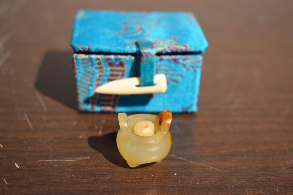【GE】G125 ir【旧家蔵出品】玉小香炉形香立 /中国 古玩 玉 ミニチュア オブジェ 美術品 古美術品 中国 古玩 時代品 骨董品 _画像10