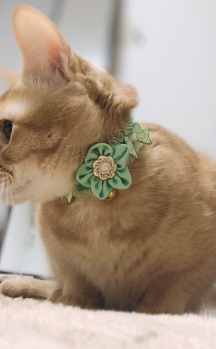 ペット用品、猫シュシュ、犬首輪、鈴付き、グリーン色