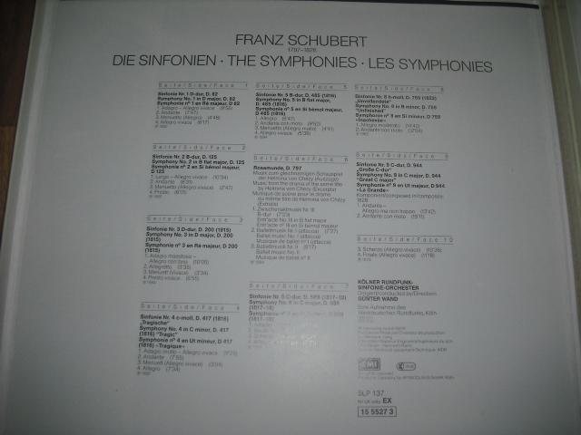 独EMI1555273 ヴァント指揮/シューベルト交響曲全集+ロザムンデ 金盤 5LPbox digital録音盤_画像5
