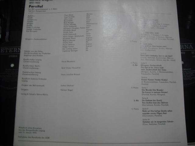 独ETERNA8 27 031-35 ケーゲル指揮/パルジファル全曲版 黒盤 5LPbox_画像3