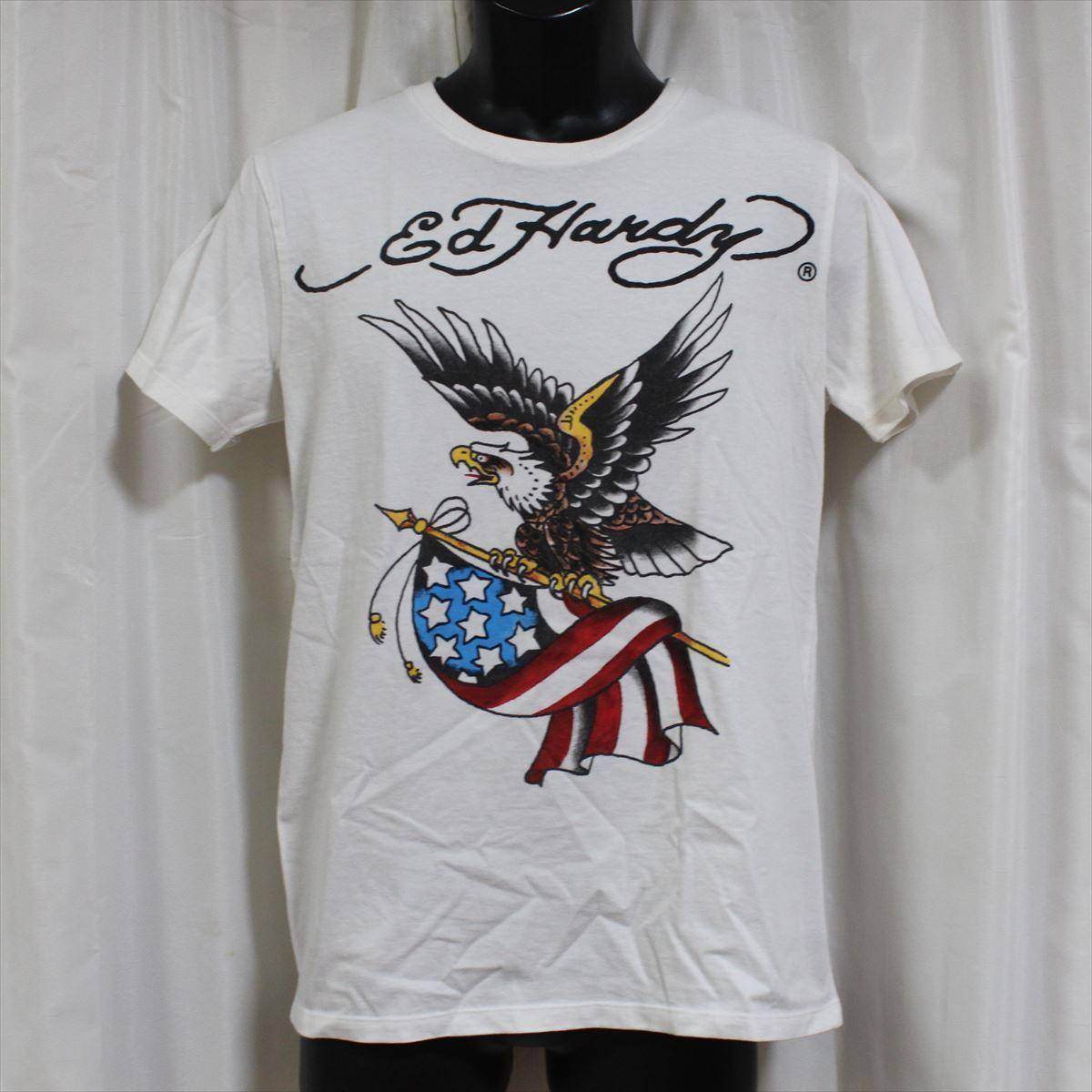 エドハーディー ED HARDY メンズ半袖Tシャツ ホワイト Mサイズ NO10 アウトレット_画像1