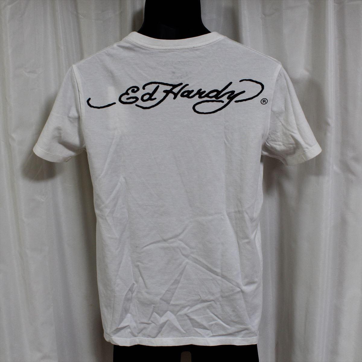 エドハーディー ED HARDY メンズ半袖Tシャツ ホワイト Mサイズ NO10 アウトレット_画像3