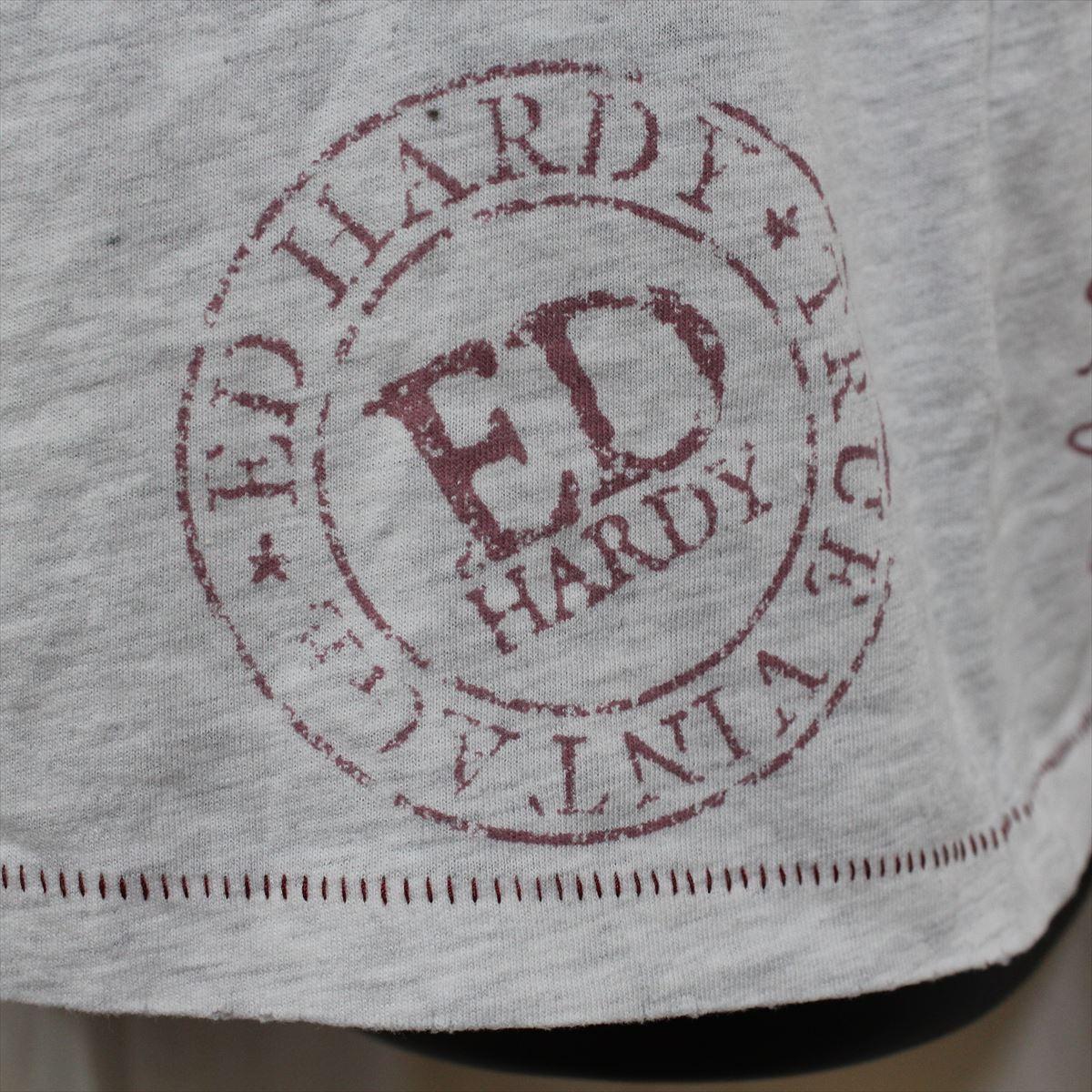エドハーディー ED HARDY メンズ半袖Tシャツ ヘザーグレー Mサイズ NO15 新品_画像4