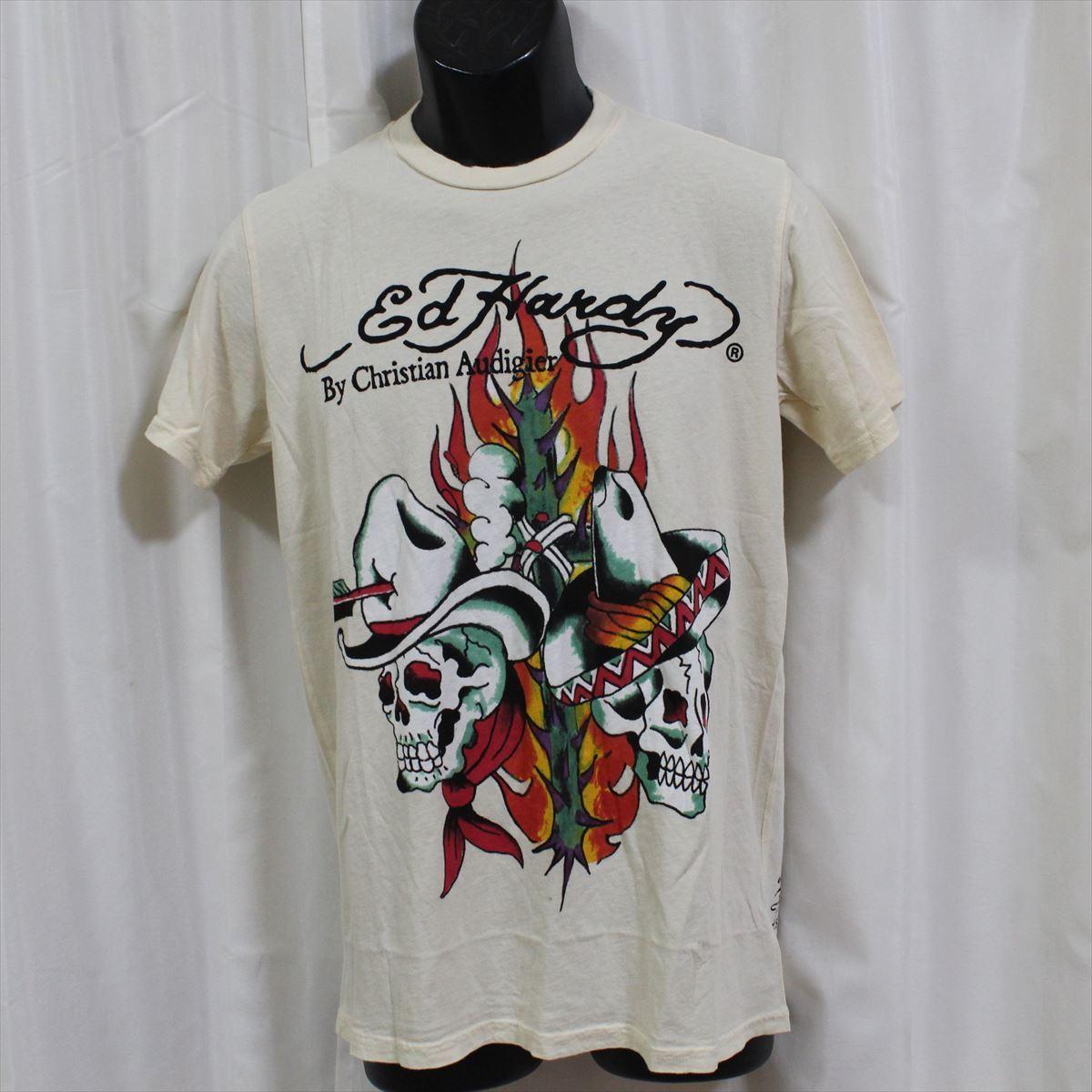 エドハーディー ED HARDY メンズ半袖Tシャツ サンドクリーム Sサイズ NO25 新品_画像1