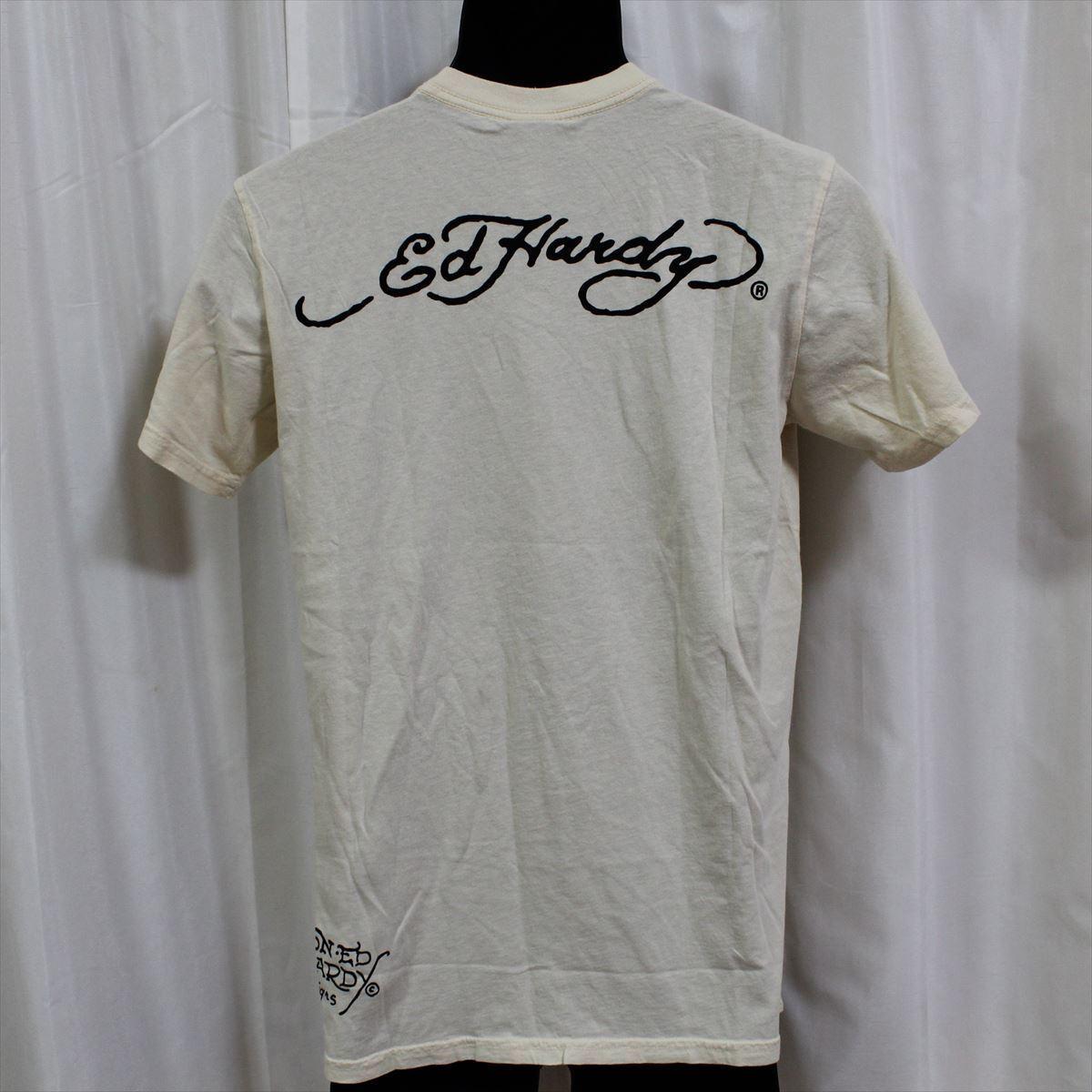 エドハーディー ED HARDY メンズ半袖Tシャツ サンドクリーム Sサイズ NO25 新品_画像4