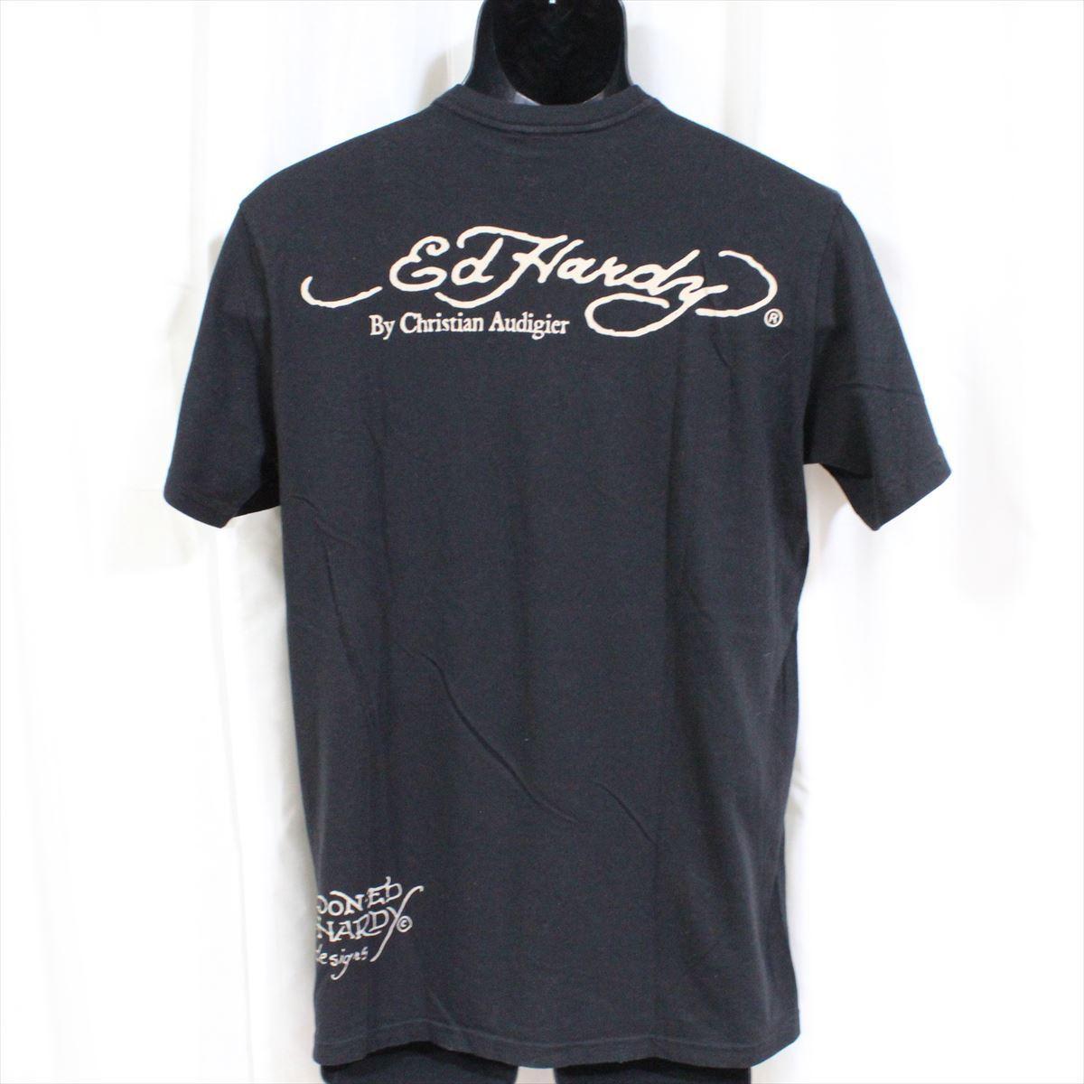 エドハーディー ED HARDY メンズ半袖Tシャツ ブラック Sサイズ DEATH OR GLORY 新品_画像3