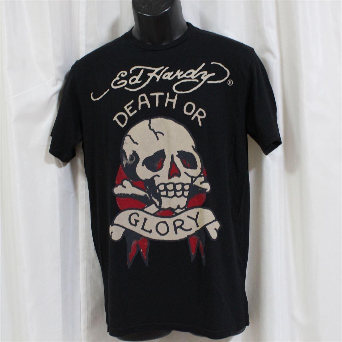 エドハーディー ED HARDY メンズ半袖Tシャツ ブラック Sサイズ DEATH OR GLORY 新品_画像1