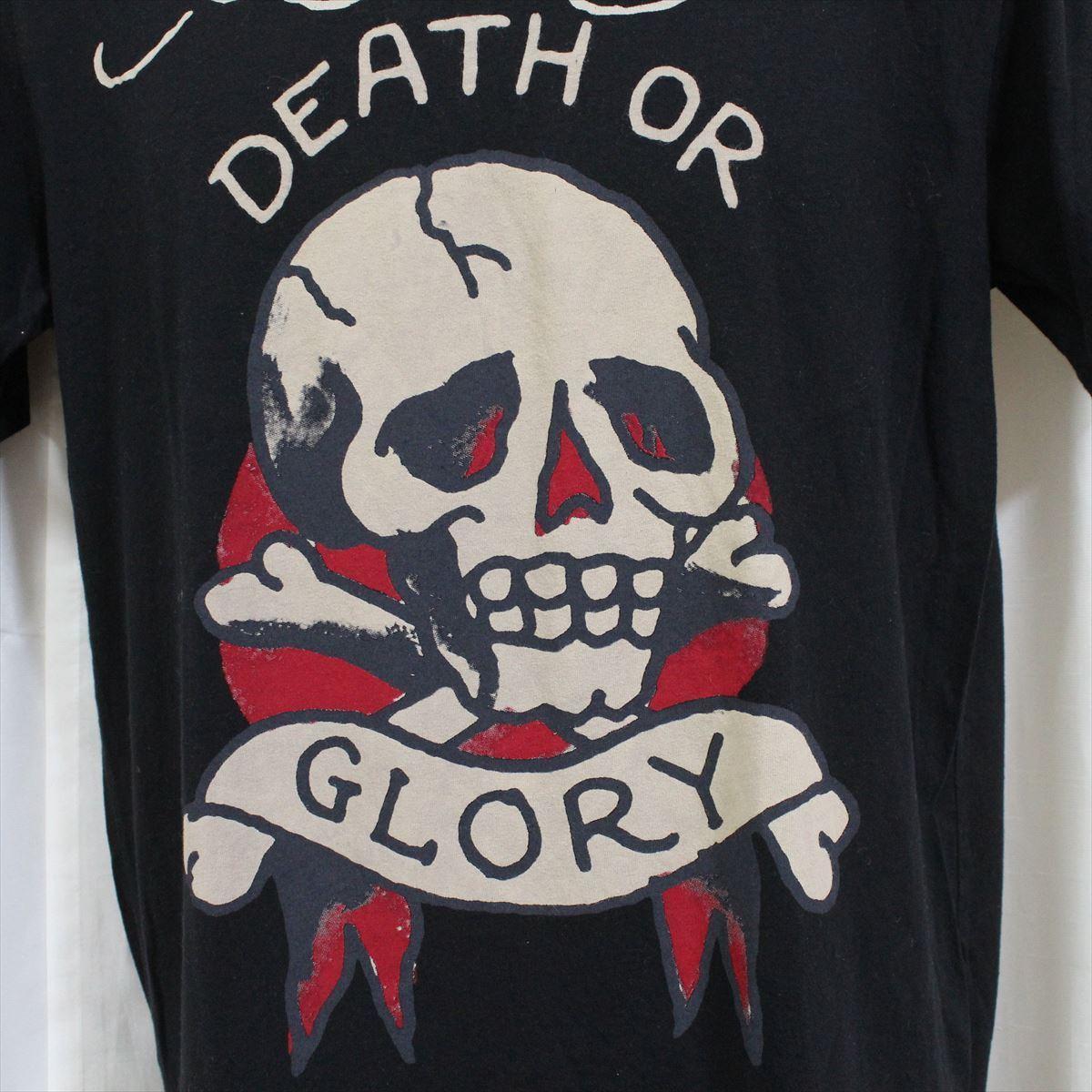 エドハーディー ED HARDY メンズ半袖Tシャツ ブラック Sサイズ DEATH OR GLORY 新品_画像2