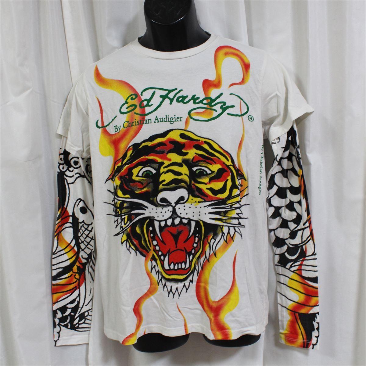 エドハーディー ED HARDY メンズダブルスリーブTシャツ ホワイト Sサイズ 新品 長袖 TIGER_画像1