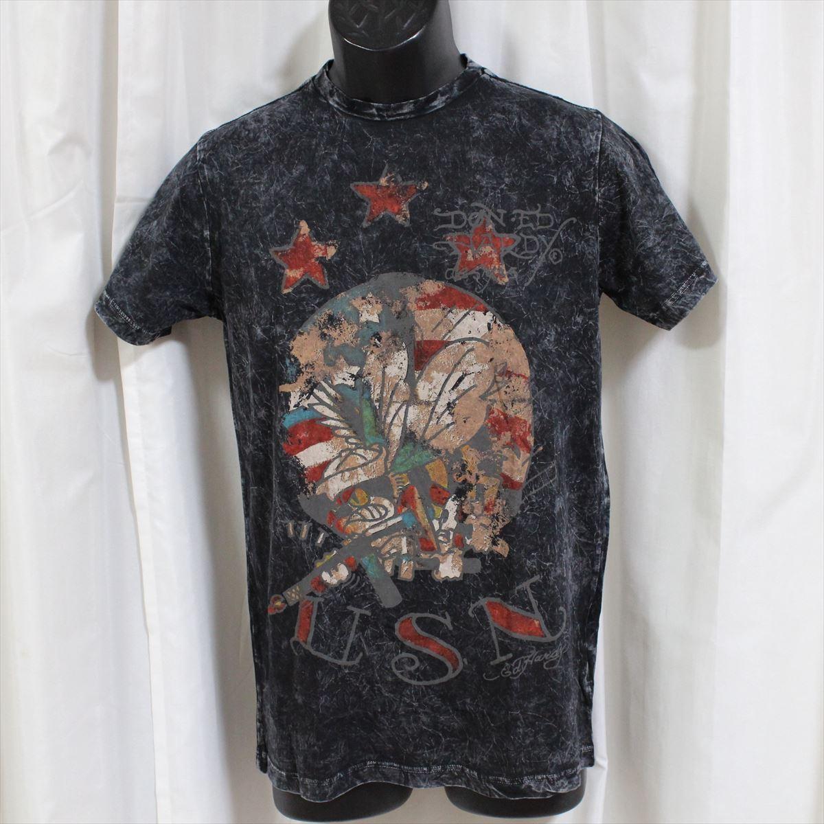 エドハーディー ED HARDY メンズ半袖Tシャツ ブラック Sサイズ 新品 アメリカ製 M02VTSB437_画像1