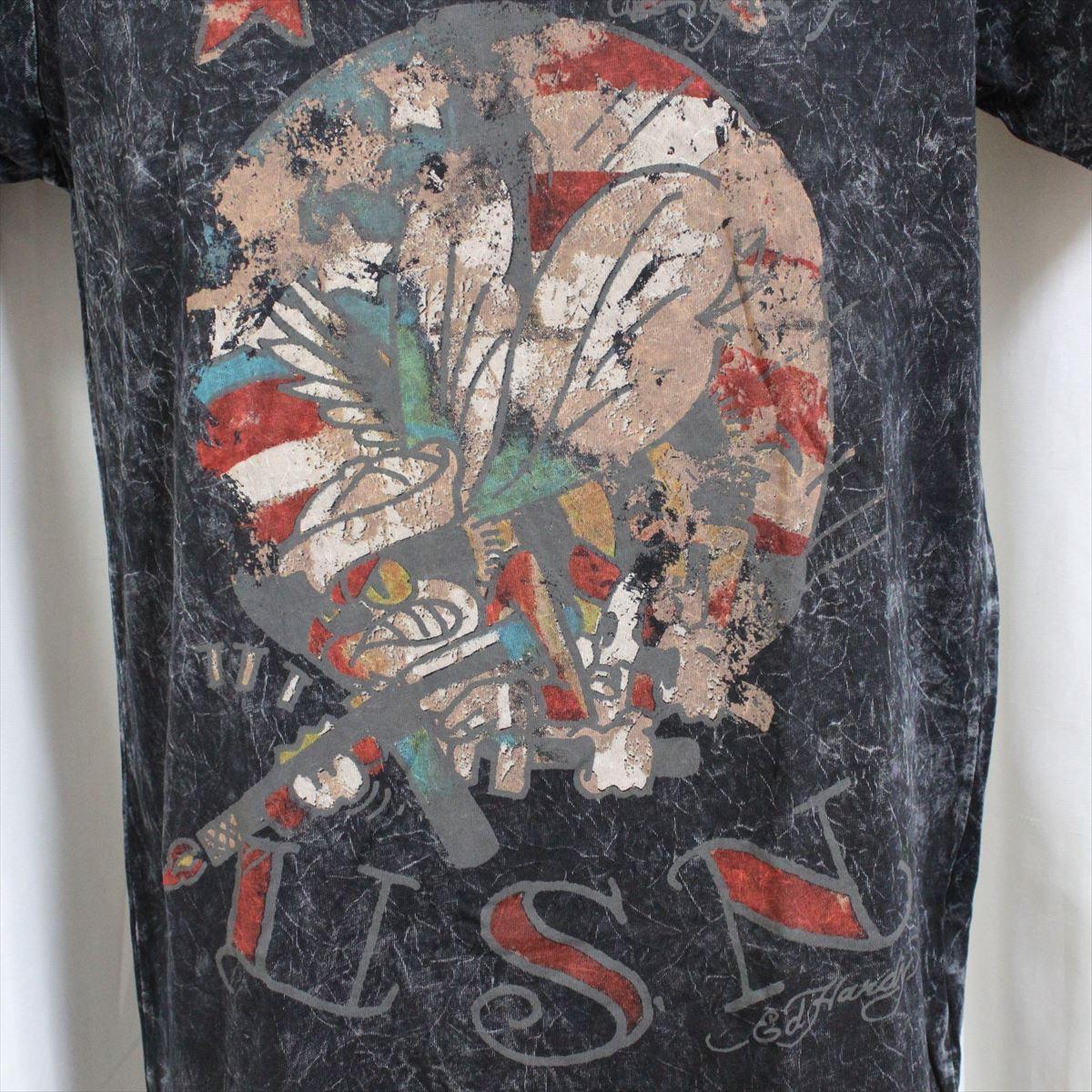 エドハーディー ED HARDY メンズ半袖Tシャツ ブラック Sサイズ 新品 アメリカ製 M02VTSB437_画像3