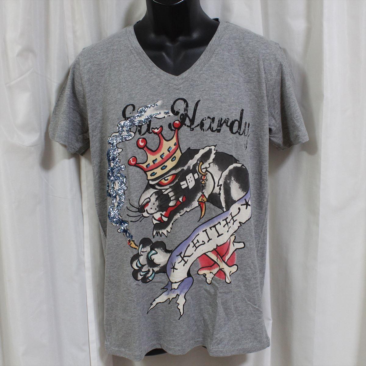エドハーディー ED HARDY メンズ半袖Tシャツ グレー Lサイズ NO35 新品 スパンコール_画像1