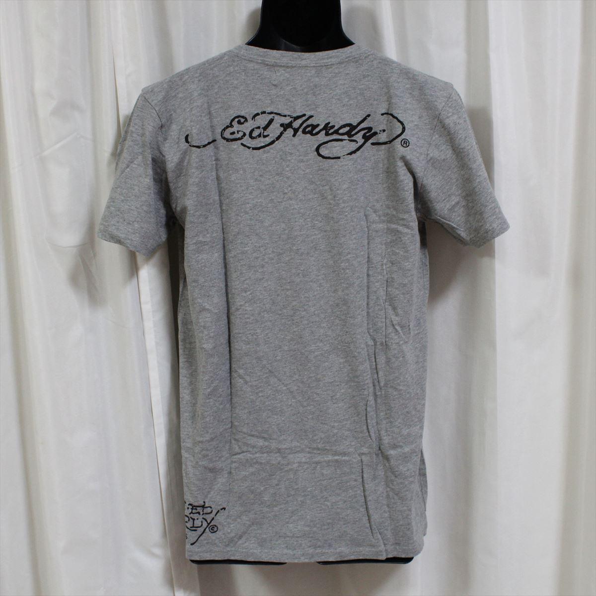 エドハーディー ED HARDY メンズ半袖Tシャツ グレー Lサイズ NO35 新品 スパンコール_画像4