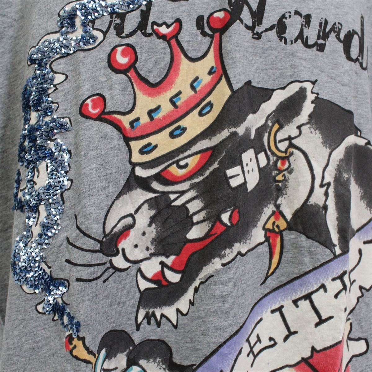 エドハーディー ED HARDY メンズ半袖Tシャツ グレー Lサイズ NO35 新品 スパンコール_画像2