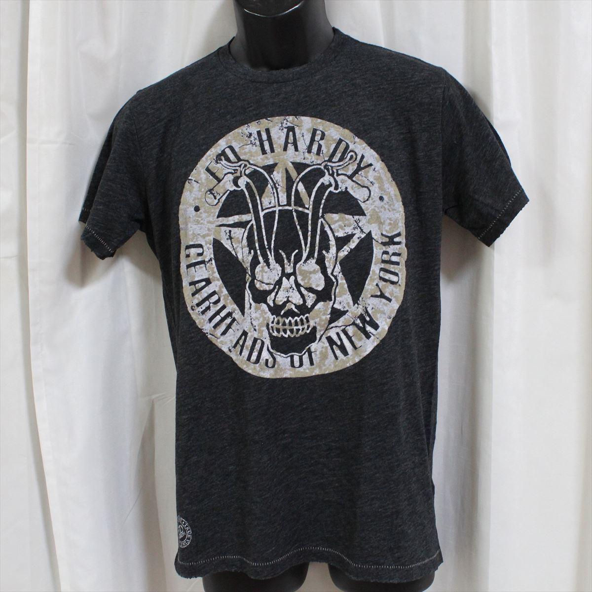 エドハーディー ED HARDY メンズ半袖Tシャツ チャコール Sサイズ NO36 新品_画像1