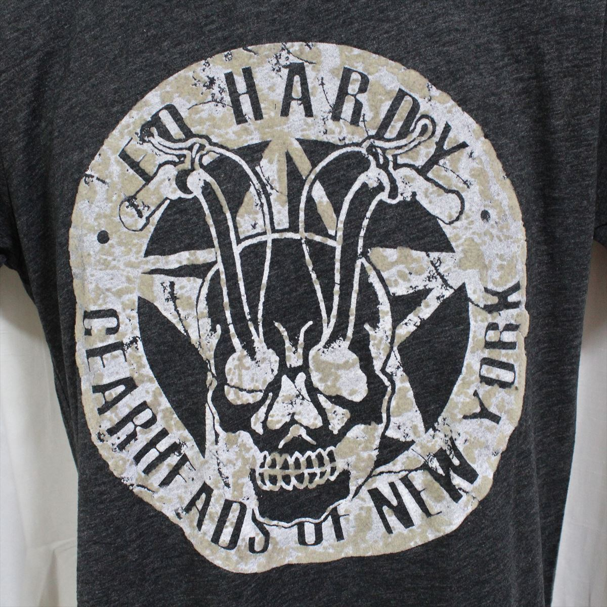エドハーディー ED HARDY メンズ半袖Tシャツ チャコール Sサイズ NO36 新品_画像2