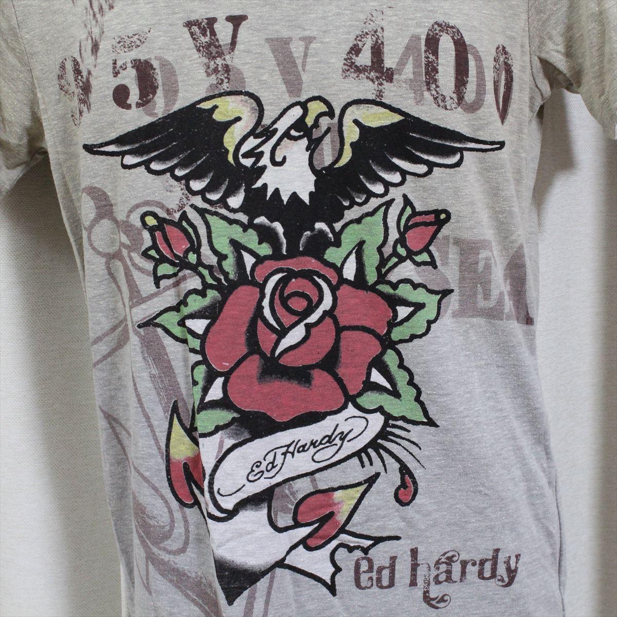エドハーディー ED HARDY メンズ半袖Tシャツ グレー Sサイズ 新品 Vネック EAGLE ANCHOR _画像2