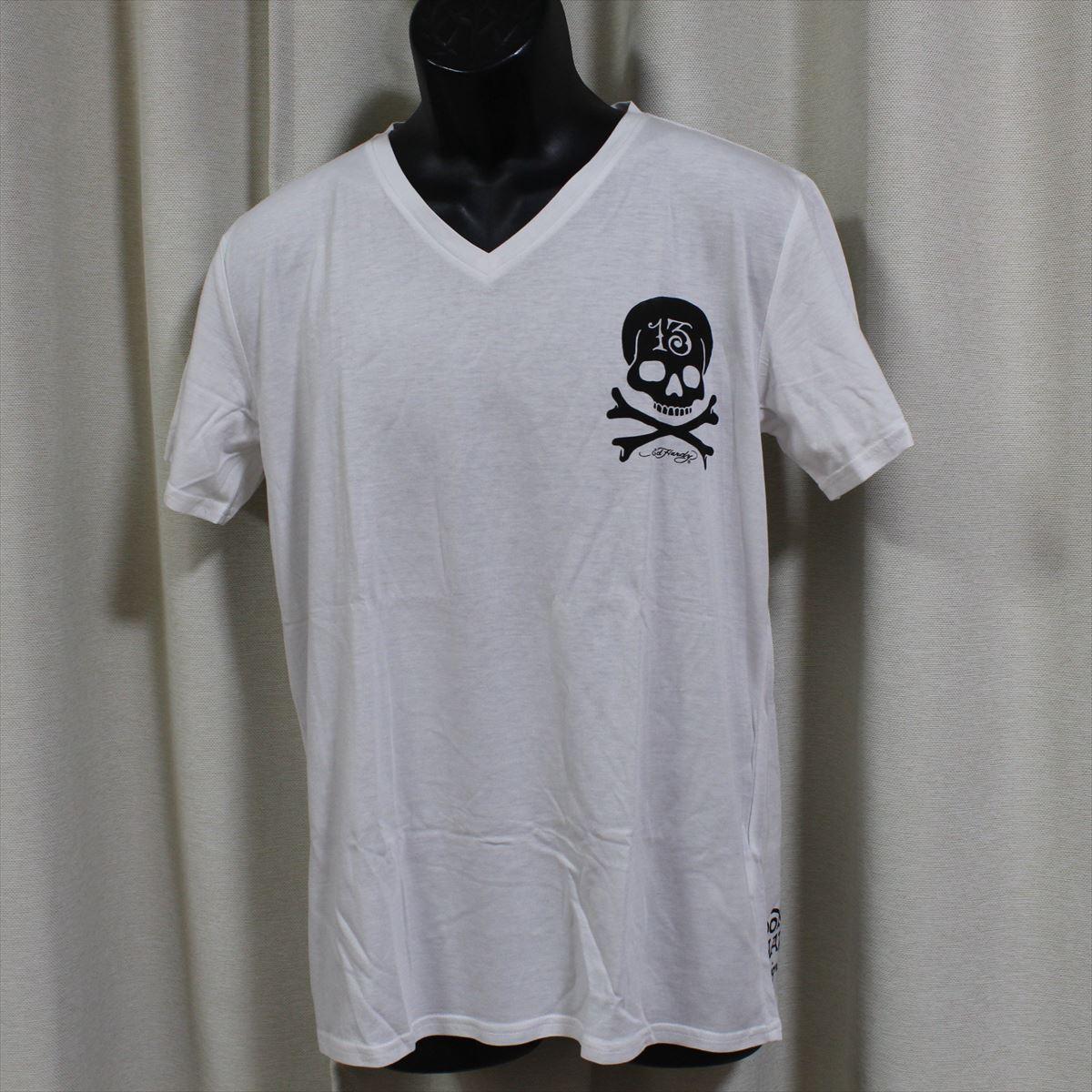 エドハーディー ED HARDY メンズ半袖Tシャツ ホワイト Lサイズ M02CMV552 新品 Vネック_画像1