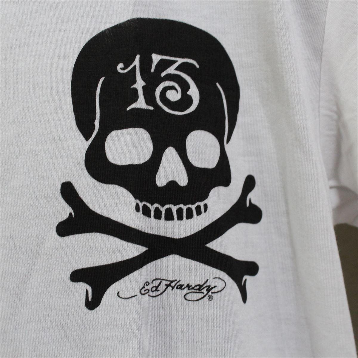 エドハーディー ED HARDY メンズ半袖Tシャツ ホワイト Lサイズ M02CMV552 新品 Vネック_画像2