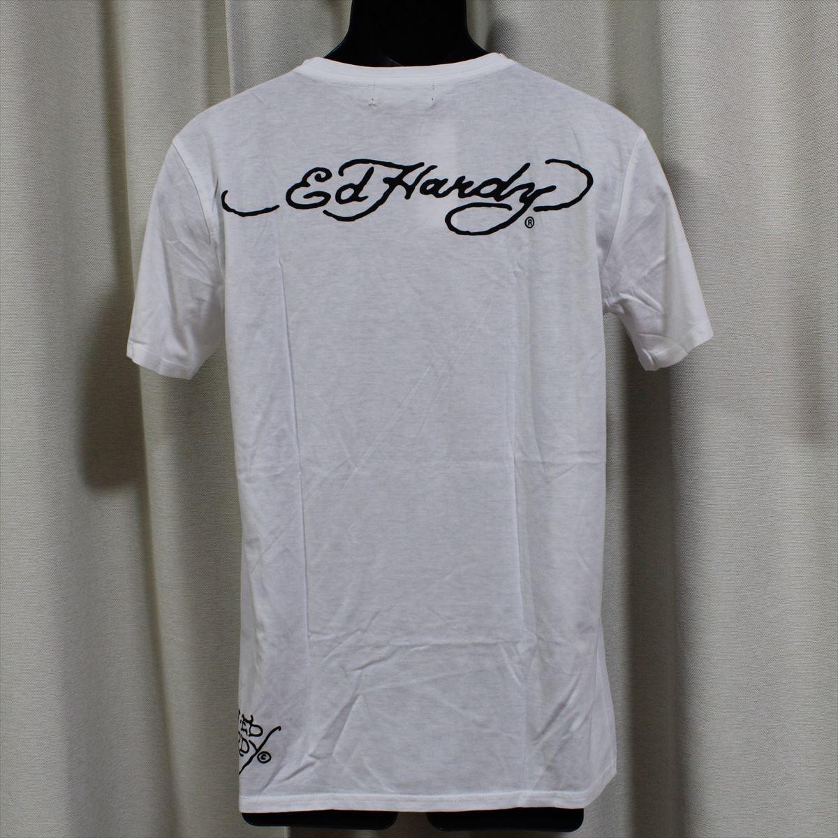 エドハーディー ED HARDY メンズ半袖Tシャツ ホワイト Lサイズ M02CMV552 新品 Vネック_画像3