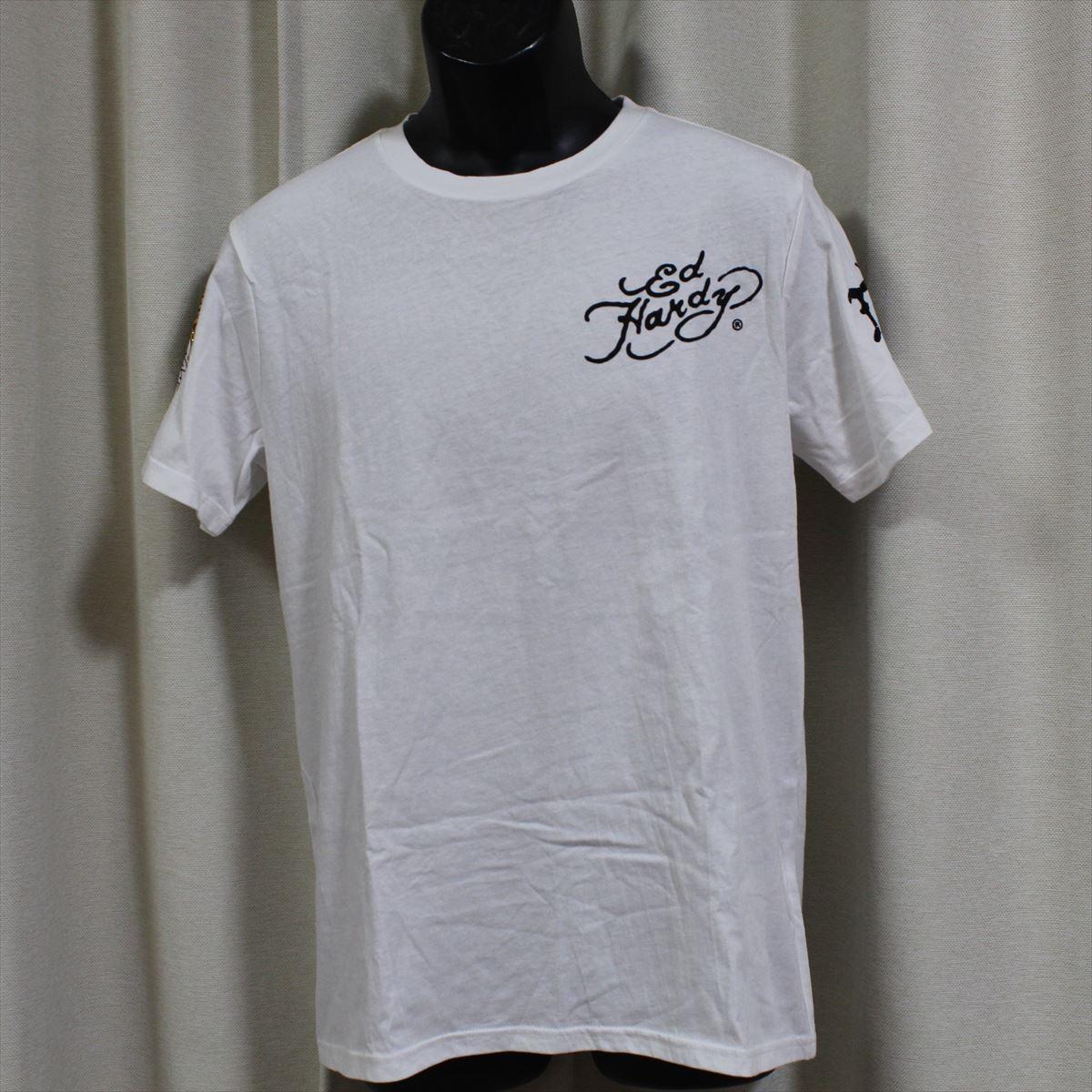 エドハーディー ED HARDY メンズ半袖Tシャツ ホワイト Lサイズ M02RST940 新品 白_3と4枚目の画像が袖のデザイン