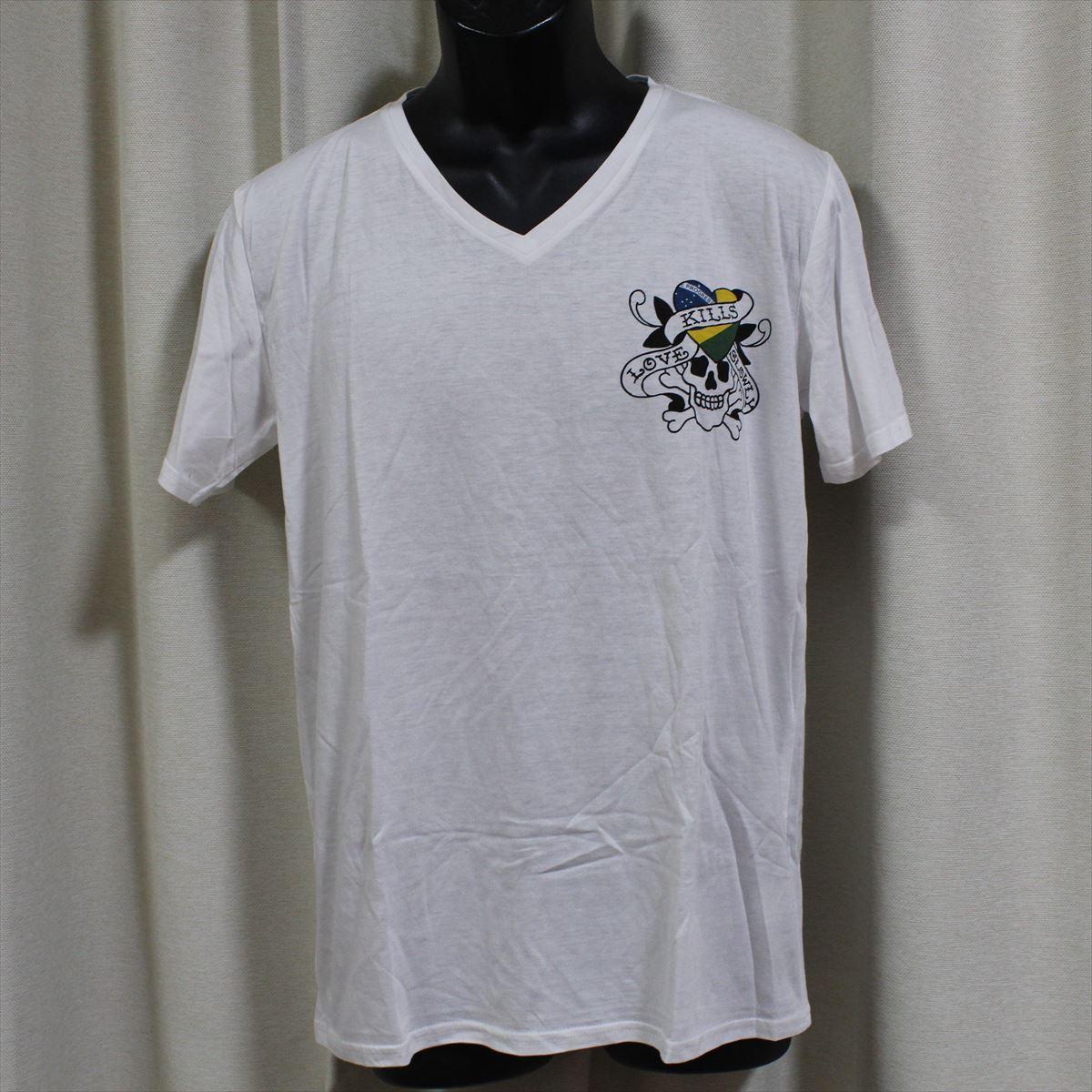 エドハーディー ED HARDY メンズ半袖Tシャツ ホワイト Lサイズ NO46 新品 Vネック_画像1