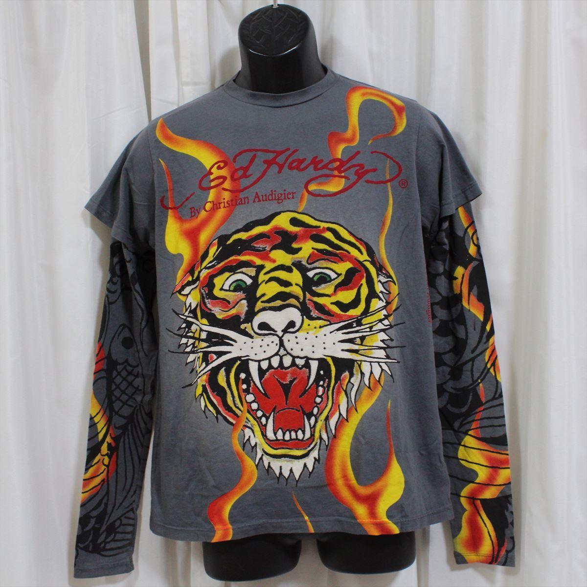 エドハーディー ED HARDY メンズダブルスリーブTシャツ チャコール Sサイズ NO48 新品 長袖_画像1