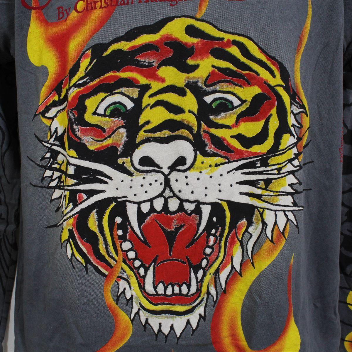 エドハーディー ED HARDY メンズダブルスリーブTシャツ チャコール Sサイズ NO48 新品 長袖_画像2