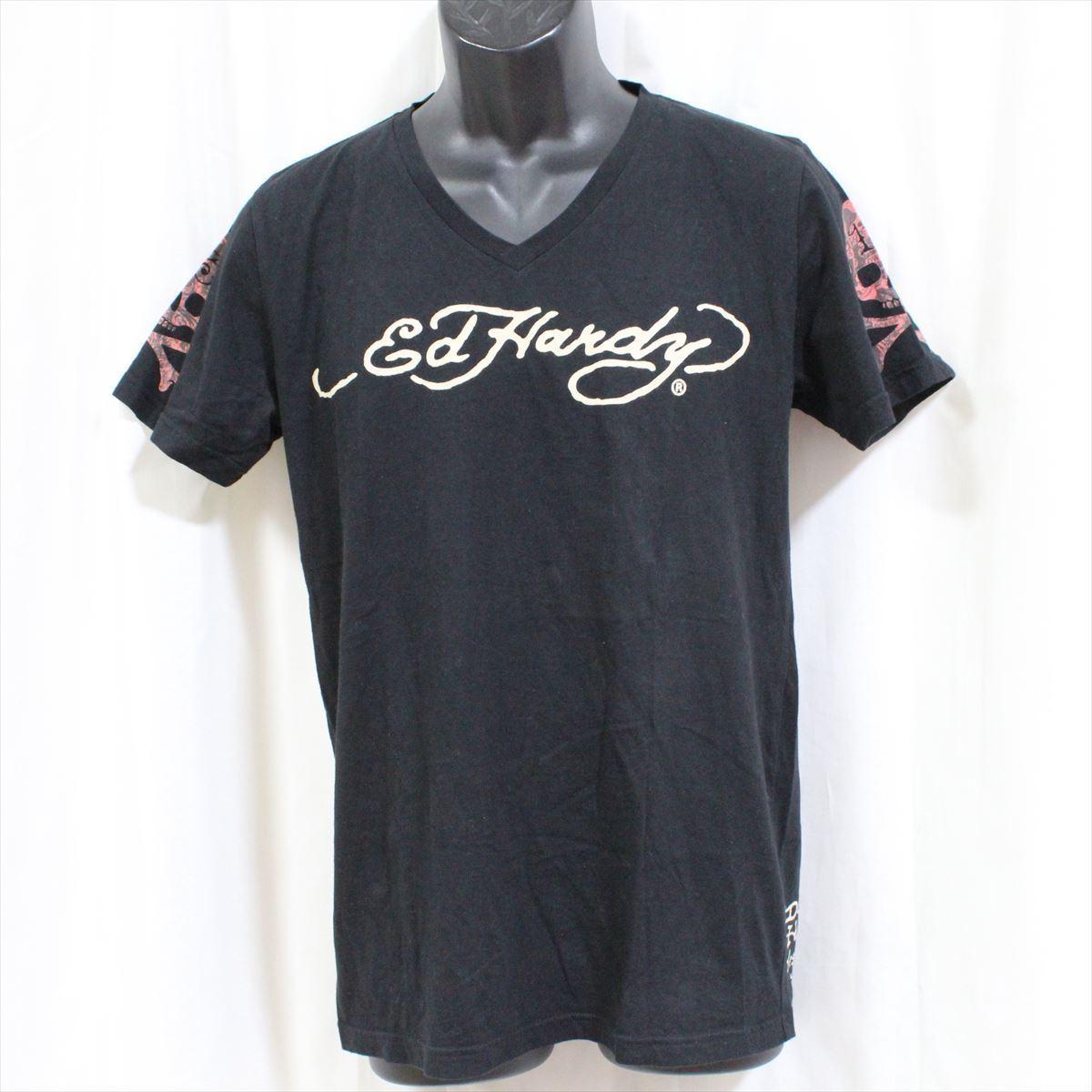 エドハーディー ED HARDY メンズ半袖Tシャツ ブラック Mサイズ 新品 黒 Vネック M02BMV554_画像1