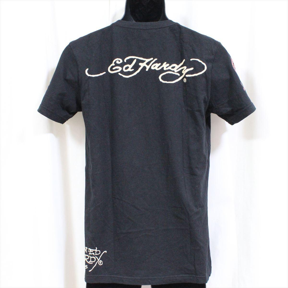 エドハーディー ED HARDY メンズ半袖Tシャツ ブラック Mサイズ 新品 黒 Vネック M02BMV554_画像3