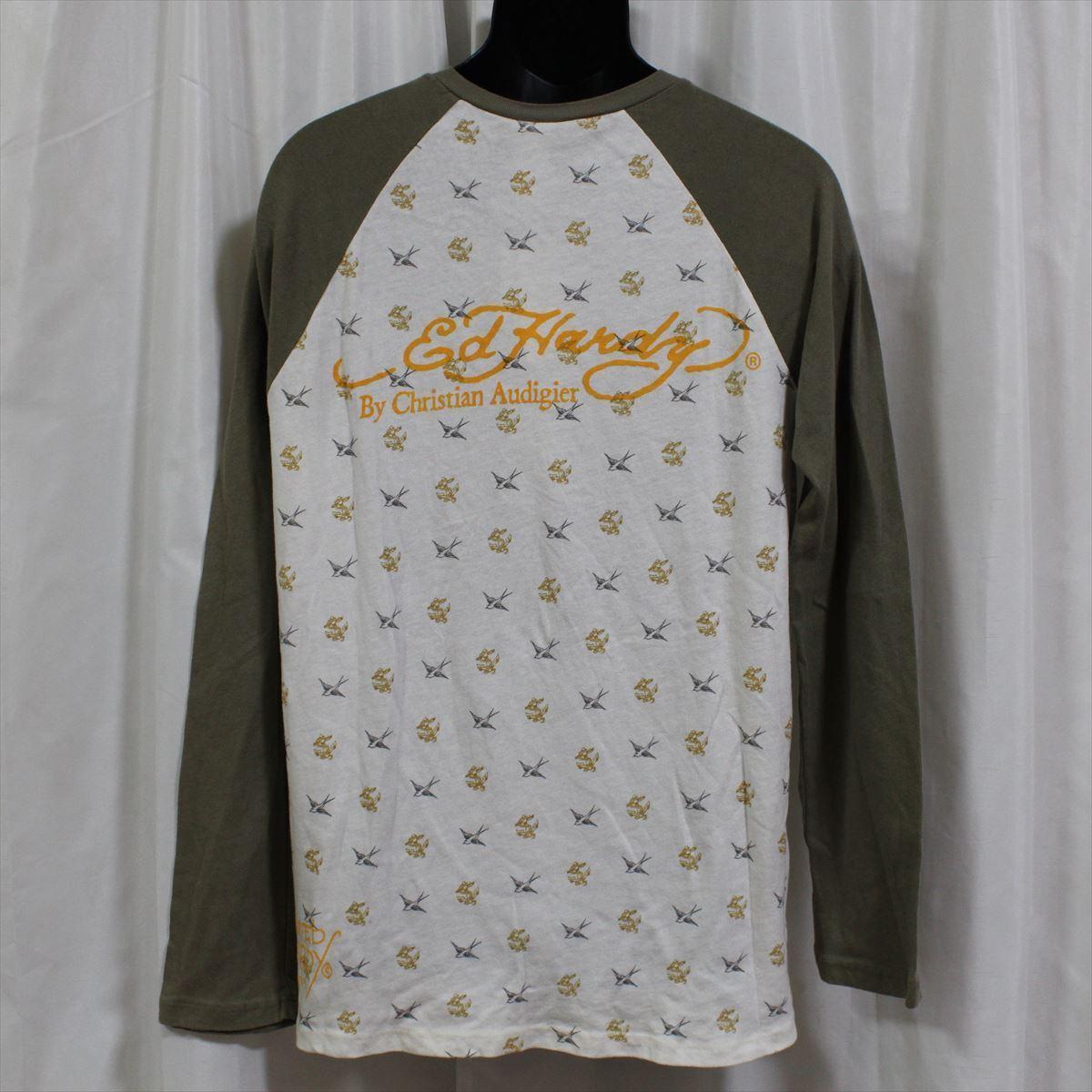 エドハーディー ED HARDY メンズ長袖Tシャツ カーキ Lサイズ M03TTMR312 新品 ラグランスリーブ アメリカ製_画像4