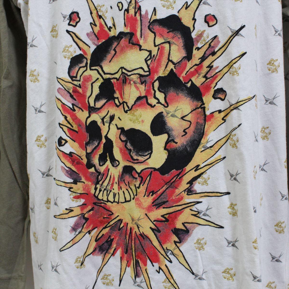 エドハーディー ED HARDY メンズ長袖Tシャツ カーキ Sサイズ M03TTMR312 新品 ラグランスリーブ アメリカ製_画像2