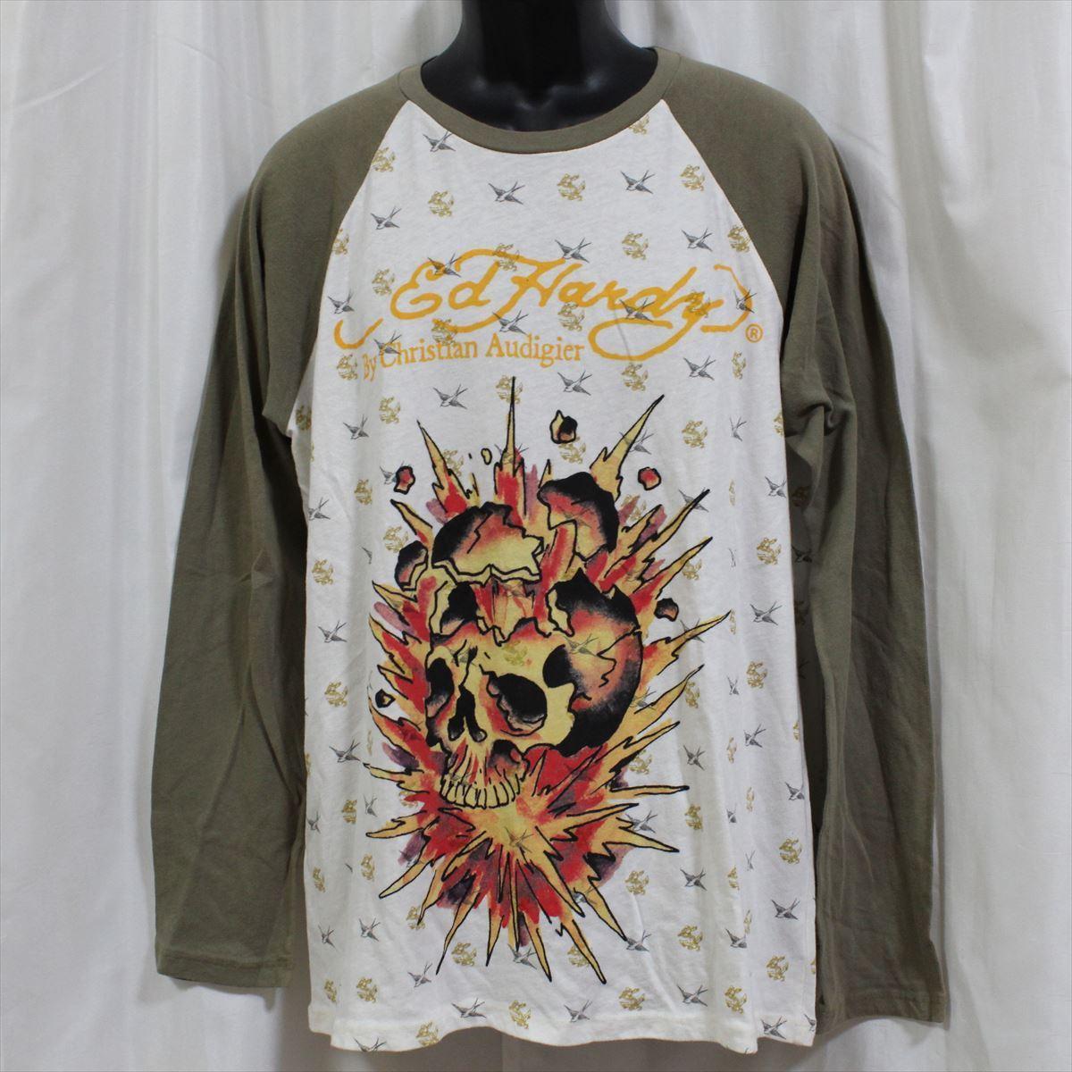 エドハーディー ED HARDY メンズ長袖Tシャツ カーキ Lサイズ M03TTMR312 新品 ラグランスリーブ アメリカ製_画像1