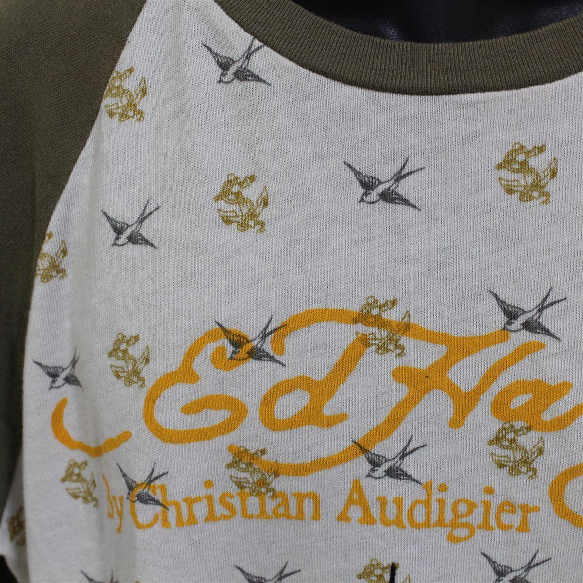 エドハーディー ED HARDY メンズ長袖Tシャツ カーキ Lサイズ M03TTMR312 新品 ラグランスリーブ アメリカ製_画像3