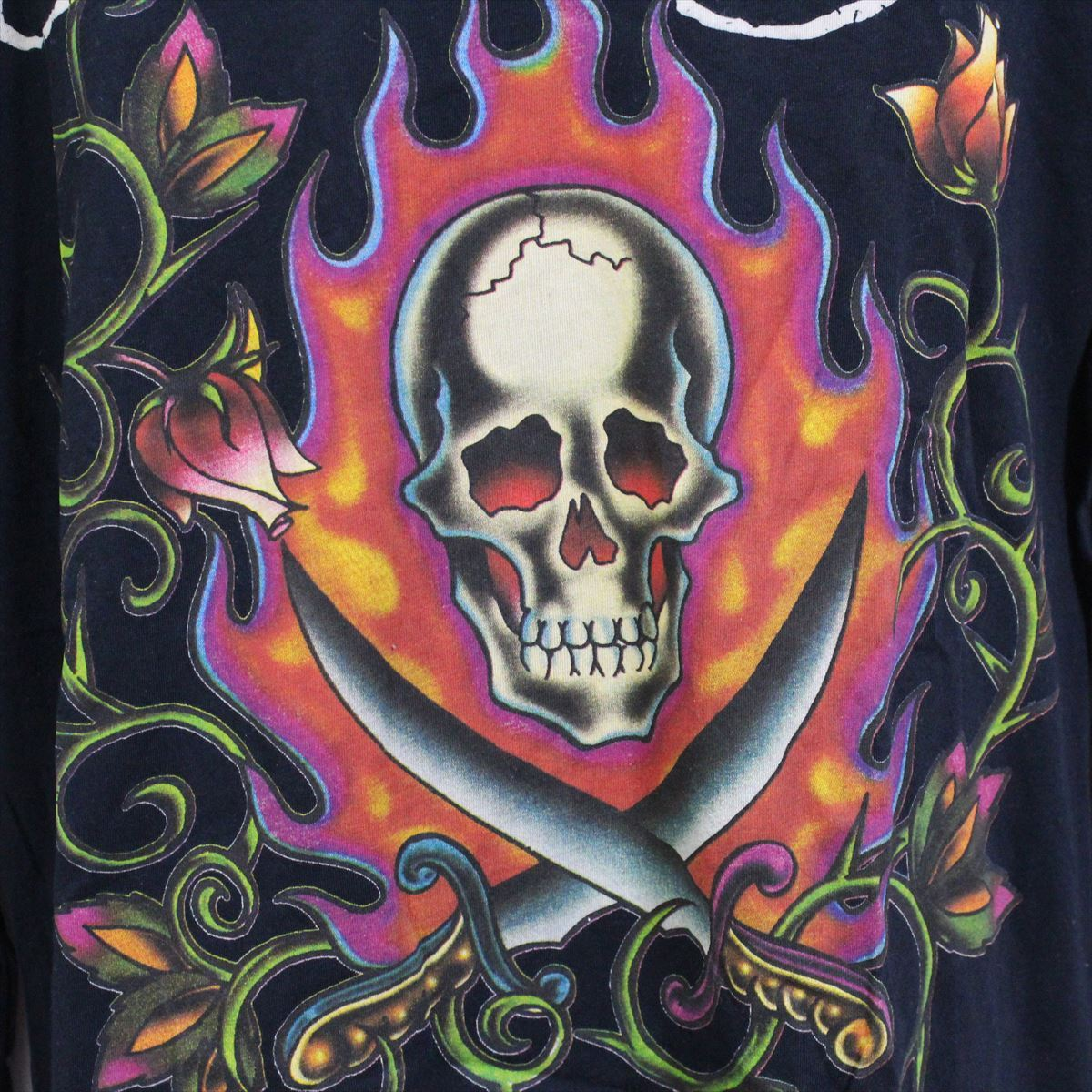 エドハーディー ED HARDY メンズ長袖Tシャツ ブラック Lサイズ M03GTC303 新品 Vネック 黒_画像2