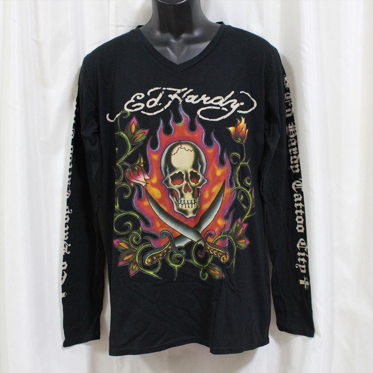 エドハーディー ED HARDY メンズ長袖Tシャツ ブラック Lサイズ M03GTC303 新品 Vネック 黒_画像1