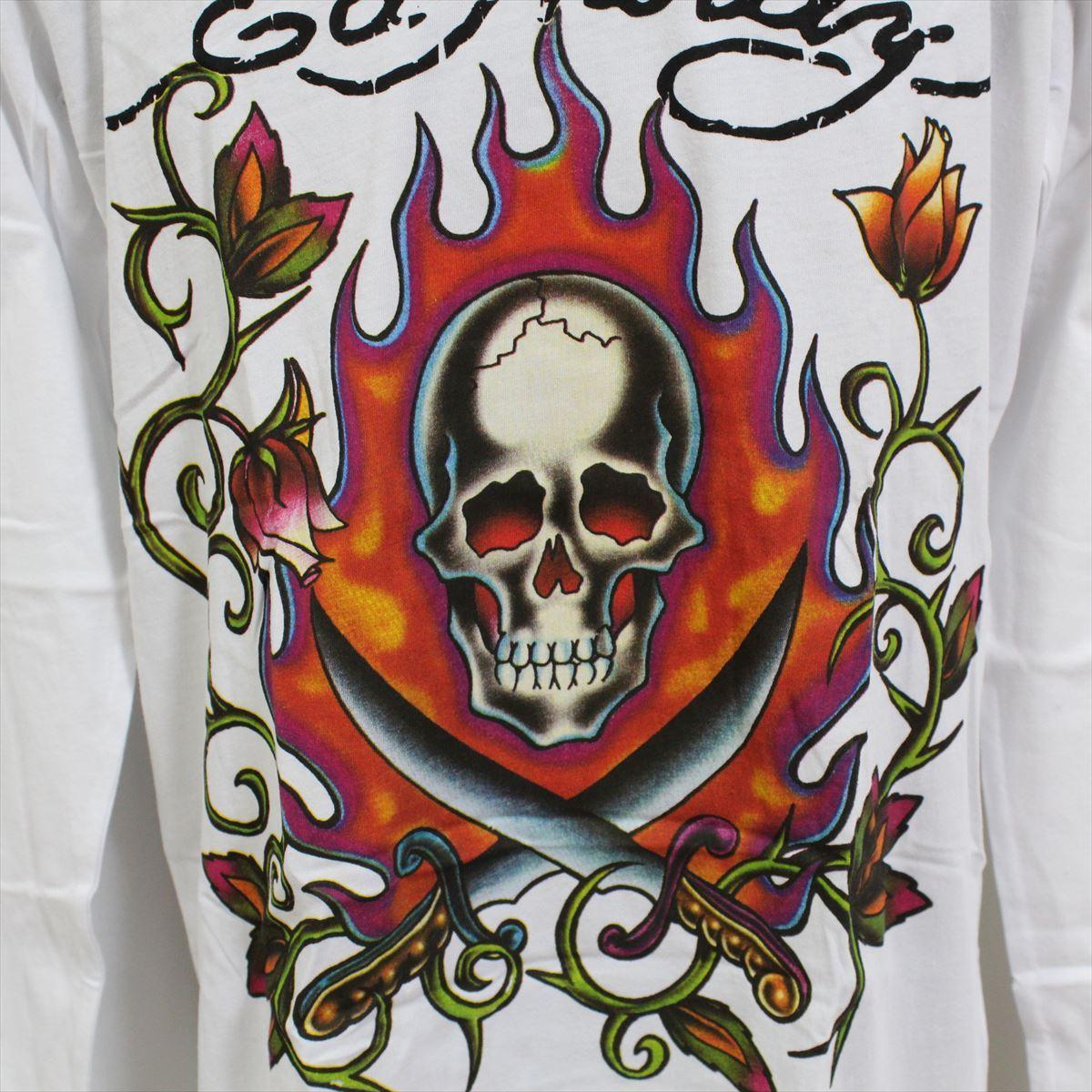 エドハーディー ED HARDY メンズ長袖Tシャツ ホワイト Mサイズ M03GTC303 新品 Vネック 白_画像2