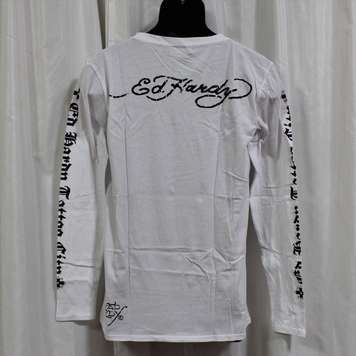 エドハーディー ED HARDY メンズ長袖Tシャツ ホワイト Mサイズ M03GTC303 新品 Vネック 白_画像3