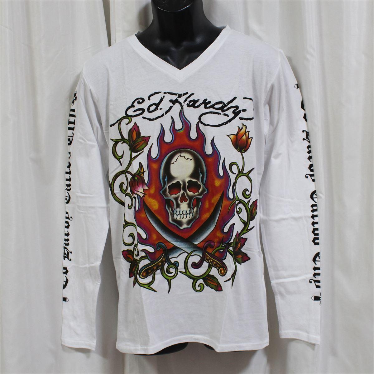 エドハーディー ED HARDY メンズ長袖Tシャツ ホワイト Mサイズ M03GTC303 新品 Vネック 白_画像1
